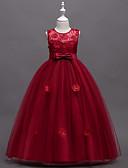 お買い得  女児 ドレス-子供 / 幼児 女の子 甘い ソリッド ノースリーブ ドレス ネイビーブルー
