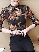 billige Bluser-kvinners bluse - blomstret / solid farget rund hals