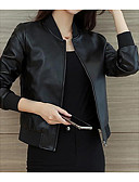 cheap Women's Leather & Faux Leather Jackets-Women's Sports Basic Short Leather Jacket, Solid Colored Stand Long Sleeve Polyester Black L / XL / XXL