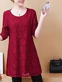 ieftine Tricou-bluza pentru femei - gât rotund solid colorat