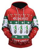ieftine Jachete & Paltoane Bărbați-Bărbați Șic Stradă Pantaloni - Scrisă Roșu-aprins / Crăciun / Capișon / Manșon Lung