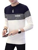 お買い得  メンズセーター&カーデガン-男性用 お出かけ ソリッド 長袖 レギュラー プルオーバー, ラウンドネック ネイビーブルー / ワイン XL / XXL / XXXL