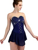 cheap Ice Skating Dresses , Pants & Jackets-Figure Skating Dress Women's / Girls' Ice Skating Dress Dark Navy High Elasticity Training / Competition Skating Wear Quick Dry, Anatomic Design Classic / Sexy Sleeveless Ice Skating / Outdoor