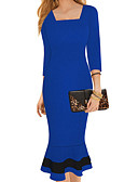 cheap Work Dresses-Women's Party / Going out Basic Slim A Line Dress - Solid Colored Ruffle High Waist Square Neck