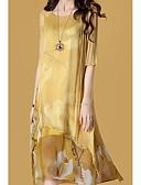 hesapli Maksi Elbiseler-Kadın's Dışarı Çıkma Şifon Elbise - Çiçekli, Desen Midi