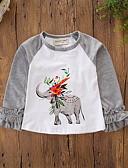 povoljno Majice za bebe-Dijete Djevojčice Aktivan / Osnovni Dnevno / Praznik Print Dugih rukava Regularna Majica s kratkim rukavima Sive boje / Dijete koje je tek prohodalo