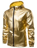 cheap Men's Jackets & Coats-Men's Daily / Sports Fall & Winter Regular Jacket, Solid Colored Hooded Long Sleeve Polyester Gold / Black / Silver L / XL / XXL