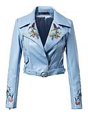cheap Women's Leather & Faux Leather Jackets-Women's Leather Jacket - Floral / Botanical, Jacquard