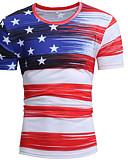 tanie Koszulki i tank topy męskie-T-shirt Męskie Okrągły dekolt Szczupła - Geometric Shape / Kolorowy blok / Krótki rękaw