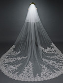 cheap Wedding Veils-One-tier Vintage Style / Flower Style Wedding Veil Chapel Veils with Appliques / Solid / Paillette 137.8 in (350cm) Lace / Tulle