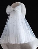 preiswerte Hochzeitsschleier-Zweischichtig Perle / nette Art Hochzeitsschleier Schulterlange Schleier mit Kunstperlen / Perlenstickerei Tüll