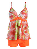 cheap Women's Swimwear & Bikinis-Women's Plus Size Basic Strap Orange Boy Leg Tankini Swimwear - Floral Backless / Lace up / Print XXL XXXL XXXXL