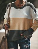 olcso Női pulóverek-Női Napi / Alkalmi Alap / Utcai sikk Kollázs Színes Hosszú ujj Bő Szokványos Pulóver, Kerek Ősz / Tél Arcpír rózsaszín / Világoszöld / Khakizöld M / L / XL / Sexy