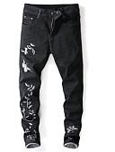 זול מכנסיים ושורטים לגברים-בגדי ריקוד גברים סגנון רחוב רזה ג'ינסים מכנסיים - אחיד / גיאומטרי שחור