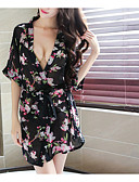 cheap Wedding Dresses-Women's Sexy Suits Nightwear - Bow / Print Floral / V Neck