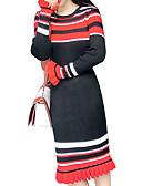رخيصةأون فساتين مطبوعة-فستان نسائي سترة أساسي طول الركبة مخطط