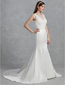 baratos Vestidos de Casamento-Sereia Decote V Cauda Corte Renda / Cetim Vestidos de casamento feitos à medida com Renda de LAN TING BRIDE®