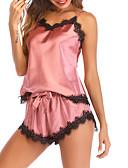 hesapli Takımlar-Derin V Uyumlu İç Giyim Takımları / Saten ve İpek / Takımlar Pijamalar Solid / Zıt Renkli Pamuklu Kadın's / Dantel / Sexy