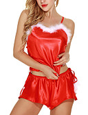 お買い得  メンズTシャツ&タンクトップ-クリスマス 女性用 セクシー スーツ ナイトウエア レース, ソリッド