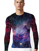 お買い得  メンズTシャツ&タンクトップ-男性用 プリント Tシャツ ボヘミアン / ストリートファッション カラーブロック / 3D