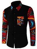 ieftine Blazer & Costume de Bărbați-Bărbați Cămașă De Bază - Bloc Culoare / Tribal Imprimeu