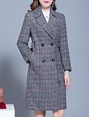 cheap Women's Coats & Trench Coats-Women's Daily Long Coat, Plaid / Checkered Straight Collar Long Sleeve Wool / Polyester Brown / Gray XL / XXL / XXXL