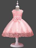 お買い得  女児 ドレス-子供 / 幼児 女の子 活発的 / 甘い パーティー / 祝日 ソリッド リボン ノースリーブ 膝丈 ドレス ピンク