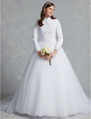 cheap Wedding Dresses-Ball Gown High Neck Chapel Train Lace / Tulle Made-To-Measure Wedding Dresses with Lace by LAN TING BRIDE®