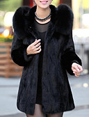 cheap Women's Fur & Faux Fur Coats-Women's Holiday / Going out Street chic / Sophisticated Spring / Fall & Winter Long Fur Coat, Solid Colored Hooded Long Sleeve Faux Fur Black XL / XXL / XXXL / Loose