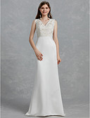 cheap Wedding Dresses-Sheath / Column V Neck Sweep / Brush Train Lace / Satin Made-To-Measure Wedding Dresses with by LAN TING BRIDE®