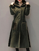 cheap Women's Coats & Trench Coats-Women's Going out Long Coat, Solid Colored Hooded Long Sleeve Polyester Brown / Army Green