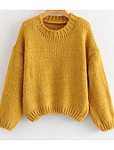 olcso Női pulóverek-Női Utcai sikk Pulóver Egyszínű