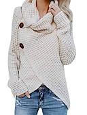 baratos Suéteres de Mulher-Mulheres Diário Básico Sólido Manga Longa Padrão Pulôver, Gola Alta Outono Azul Claro / Verde Tropa / Khaki L / XL / XXL