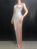 Χαμηλού Κόστους Φορέματα κοκτέιλ-Στολές χορού Εξωτικά ρούχα χορού / Κορμάκι στρας Γυναικεία Επίδοση Spandex Κρύσταλλοι / Στρας Αμάνικο Φόρεμα