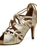 abordables Vestidos de Mujeres-Mujer Zapatos de Baile Latino Cuero Patentado Sandalia Corbata de Lazo Slim High Heel Zapatos de baile Dorado / Blanco / Plata