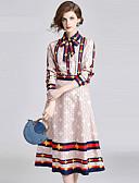 tanie Suknie i sukienki damskie-Damskie Vintage / Aktywny Zestaw - Nadruk, Kolorowy blok Spódnica