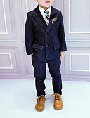 povoljno Kompletići za dječake-Djeca Dječaci Osnovni Prugasti uzorak Dugih rukava Pamuk Komplet odjeće Plava
