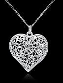 ieftine Romantic Lace-Pentru femei Gol Coliere cu Pandativ - S925 Sterling Silver Inimă, Iubire Floral, Modă, #D Argintiu 45 cm Coliere Bijuterii 1 buc Pentru Nuntă, Petrecere, Zilnic