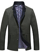 ieftine Blazer & Costume de Bărbați-Bărbați Zilnic De Bază Iarnă Mărime Plus Size Regular Jachetă, Mată Stand Manșon Lung Poliester Maro / Trifoi XXXXXL / XXXXXXL / 8XL