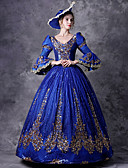 cheap Historical & Vintage Costumes-Victorian Rococo Baroque Medieval 18th Century Costume Women's Dress Outfits Party Costume Masquerade Blue Vintage Cosplay Party Prom 3/4 Length Sleeve Puff / Balloon Sleeve V Neck Floor Length Ball