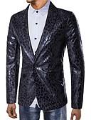 זול בלייזרים וחליפות לגברים-בגדי ריקוד גברים לבן שחור XL XXL XXXL בלייזר בסיסי נמר דפוס Party / שרוול ארוך