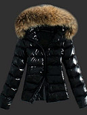 cheap Women's Down & Parkas-Women's Daily / Going out Casual / Basic Solid Colored Regular Padded, Faux Fur / Faux Leather Long Sleeve Fall / Winter Hooded Black XL / XXL / XXXL