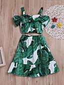رخيصةأون فساتين فينتيدج قديمة-مجموعة ملابس بدون كم طباعة أوراق استوائية للفتيات أطفال