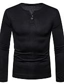 billige T-shirts og undertrøjer til herrer-Rund hals Herre - Ensfarvet Bomuld Basale T-shirt Mørkegrå L / Langærmet