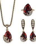 billige Aftenkjoler-Dame Kvadratisk Zirconium briolette Smykkesæt - Pære Simple, Mode Omfatte Dråbeøreringe Halskædevedhæng Ring Rød Til Ceremoni Stævnemøde