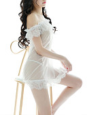 abordables Ropa Interior y Calcetines de Hombre-Mujer Súper Sexy Traje Ropa de dormir - Encaje Un Color Blanco Negro Tamaño Único / Hombros Caídos