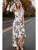 זול שמלות במידות גדולות-בגדי ריקוד נשים בוהו כותנה מכנסיים - פרחוני גב חשוף / דפוס מותניים גבוהים לבן / V עמוק / א-סימטרי / חוף / סקסית