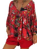billige Skjorter til damer-V-hals Store størrelser Bluse Dame - Geometrisk Grunnleggende Svart / Vår / Høst