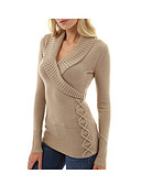 cheap Women's Sweaters-Women's Daily Basic Solid Colored Long Sleeve Loose Regular Pullover Dark Gray / Khaki / Light gray M / L / XL