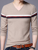 cheap Women's Blouses-Men's Daily Striped Long Sleeve Plus Size Regular Pullover, V Neck Navy Blue / Wine / Khaki XXL / XXXL / 4XL